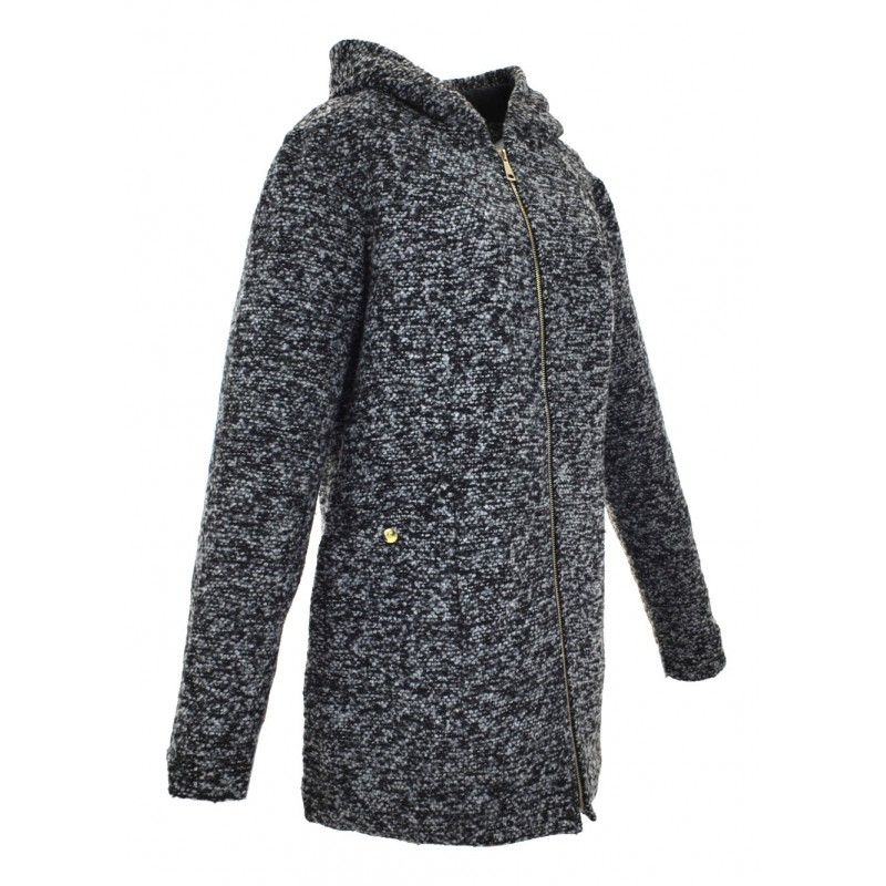 Płaszcz BOUCLE z kapturem (szary)