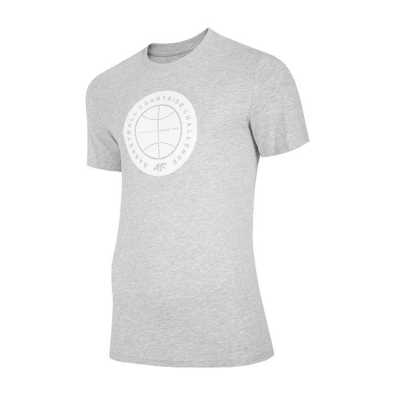 T-SHIRT MĘSKI 4F TSM027 - szary melanż T-shirt Męski z Nadrukiem Męska Koszulka 4F