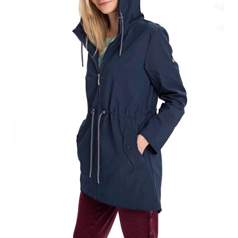 Płaszcz damski J-ELLI - Młodzieżowy Wiosenny płaszcz damski z kapturem Jesienny płaszcz damski Granatowy płaszcz damski