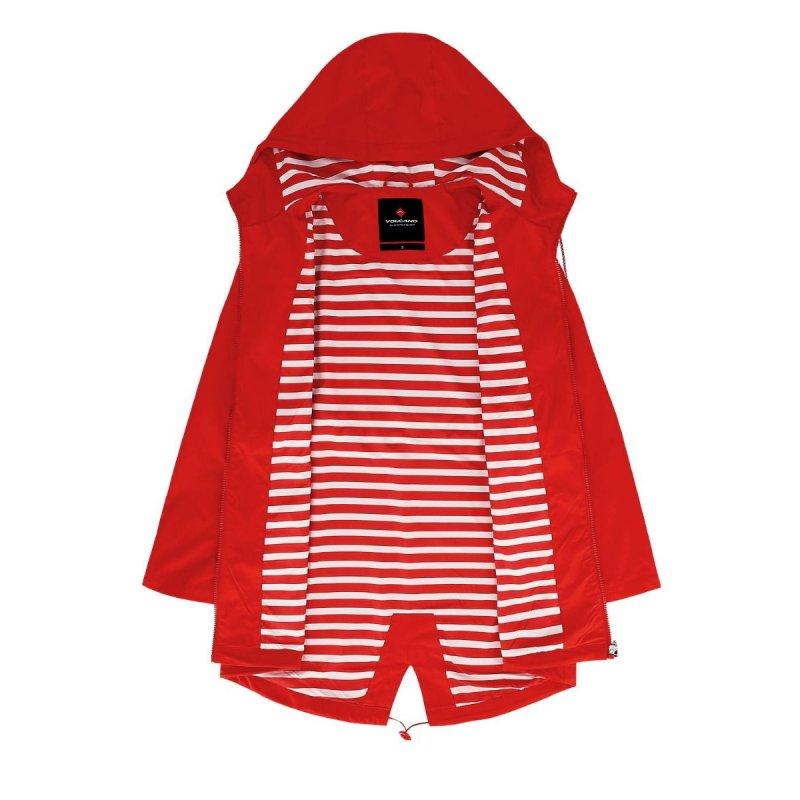 Płaszcz damski J-ELLI - Czerwony płaszcz damski z kapturem Płaszcz damski wiosenny Płaszcz damski jesienny na wiosnę na jesień