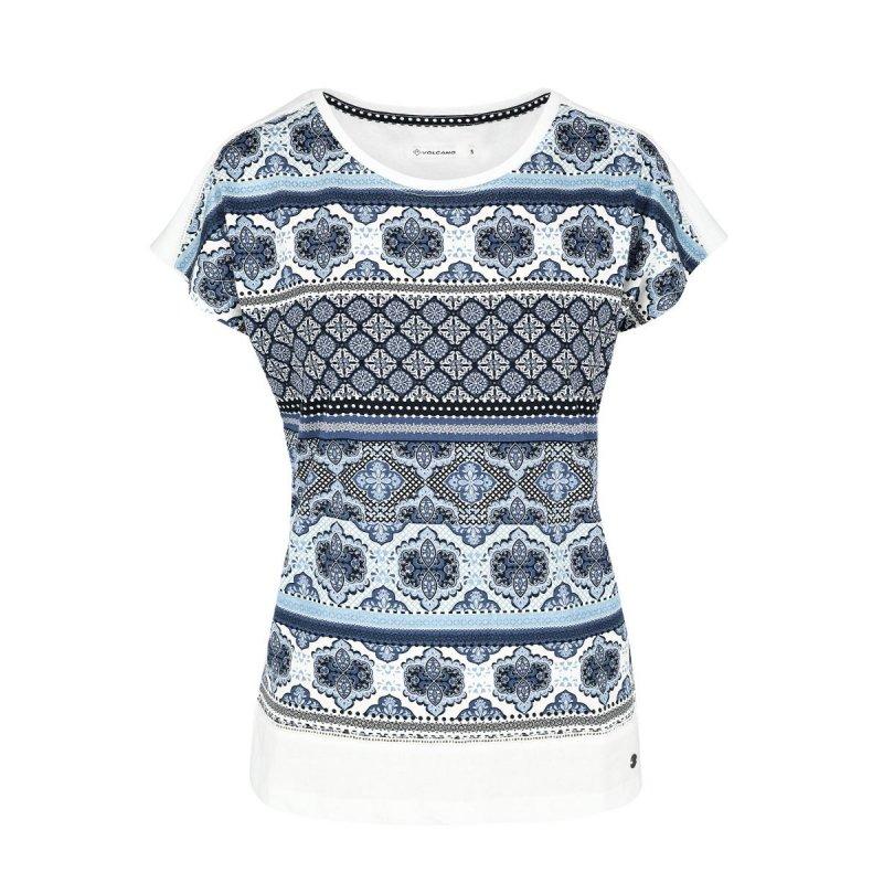 Koszulka damska T-ADA - wzór etniczny Biała bluzka etniczna Koszulka Volcano