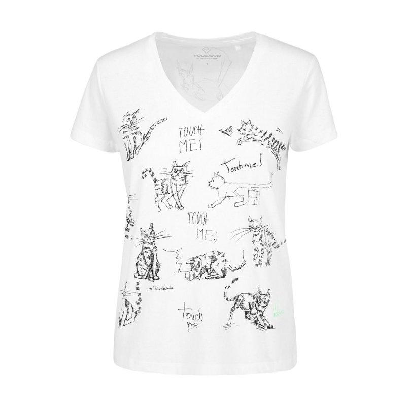 Koszulka damska T-MEOW - biała Klasyczna biała koszulka damska Bluzka damska w koty Koszulka damska z kotem