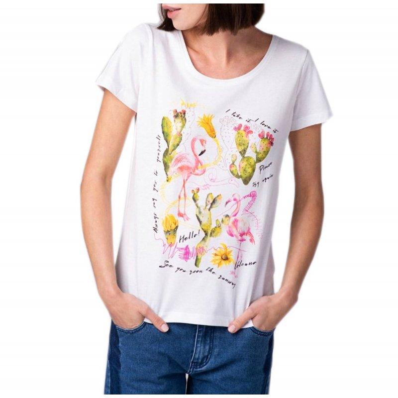 Koszulka damska T- FLAMINGOS - biała Klasyczna biała koszulka damska Modna Bluzka damska z flamingiem