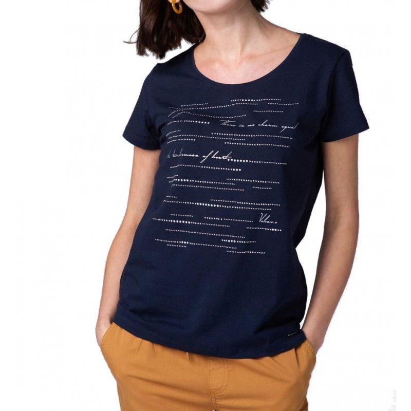 Koszulka damska T- DOTS - granatowa Granatowa koszulka damska ze srebrnymi dżetami granatowy t-shirt damski
