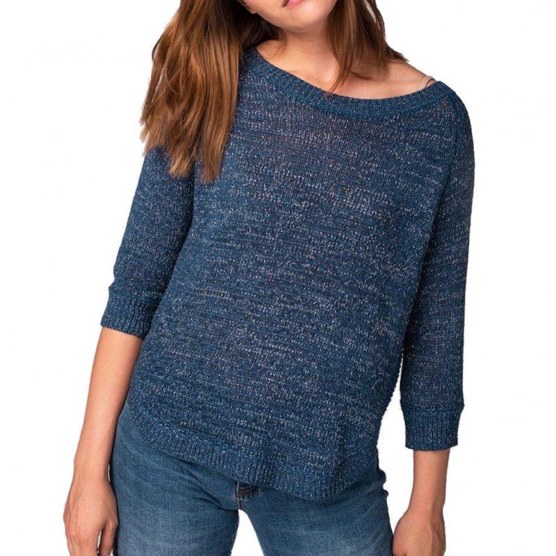 Sweter ażurowy S-KRISTINA- granatowy Damski sweterek ażurowy Sweter Volcano Granatowy Sweter Granatowy Sweterek