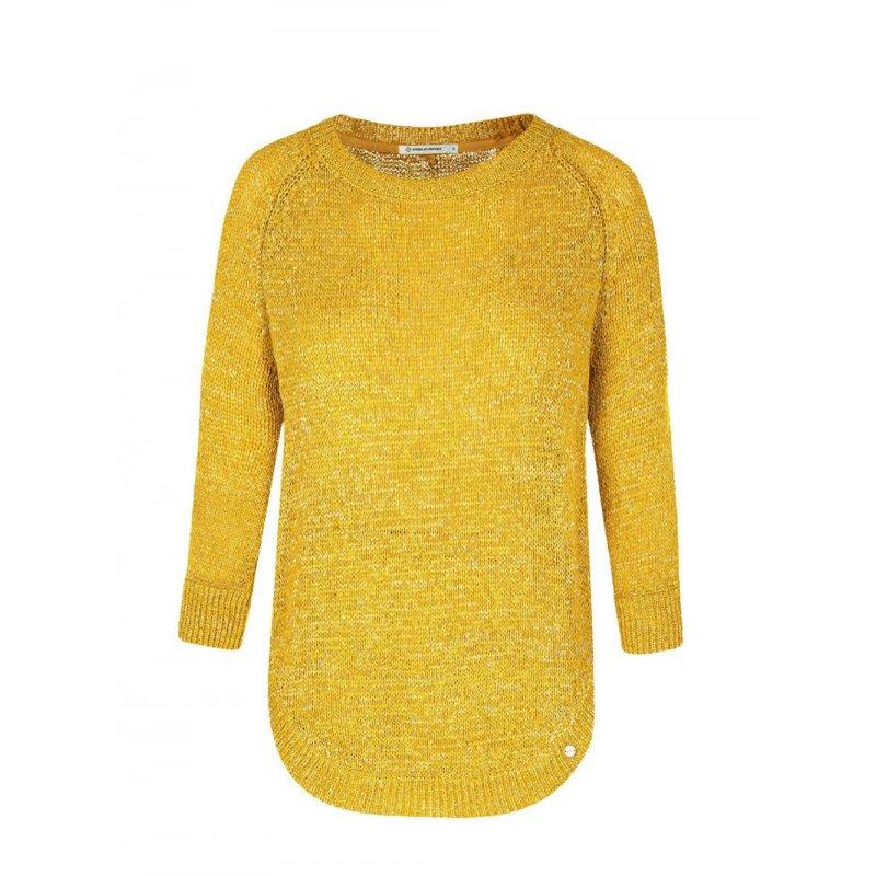 Sweter ażurowy S-KRISTINA- Musztardowy sweter ażurowy Sweterek Ażurowy Sweter Volcano