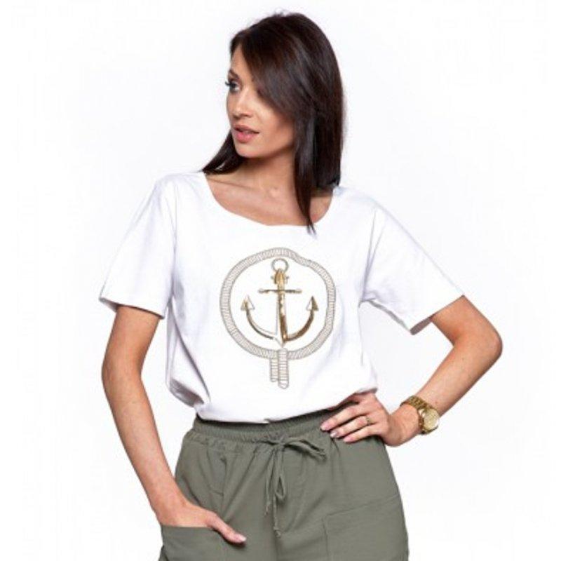 Koszulka damska MORAJ BD1500-101- Biała koszulka damska bawełniana Koszulka Moraj