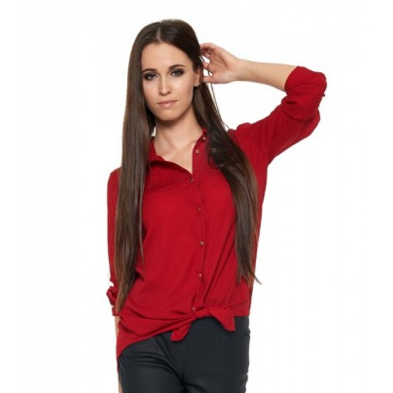 Damska koszula szyfonowa - bordowa KOSZULA damska szyfonowa z kołnierzykiem czerwona szyfonowa koszula