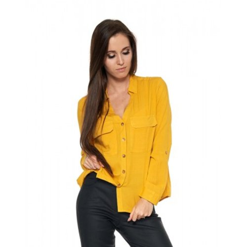 Damska koszula z wiskozy - żółta Damska koszula wiskozowa Koszula damska na guziki