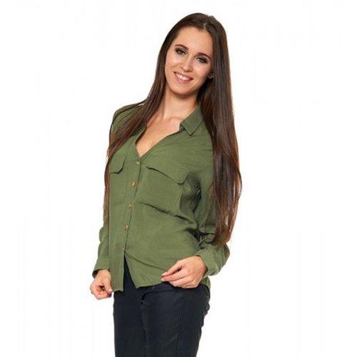 Damska koszula z wiskozy - zielona Koszula damska z wiskozy Koszula damska rozpinana