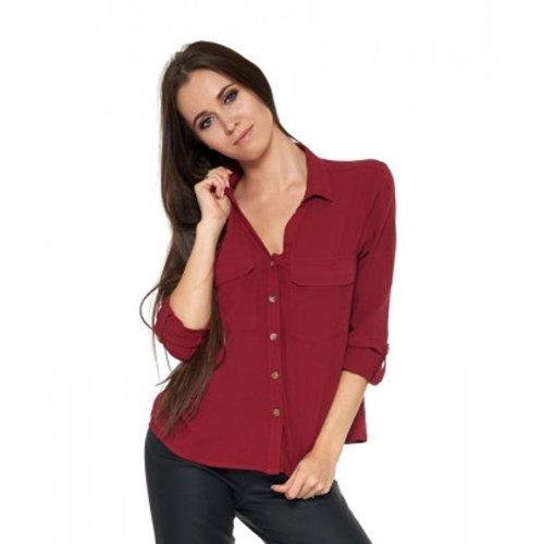 Damska koszula z wiskozy - bordowa