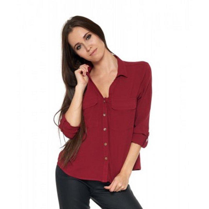 Damska koszula z wiskozy - bordowa Damska koszula z wiskozy Bordowa koszula damska z wiskozy
