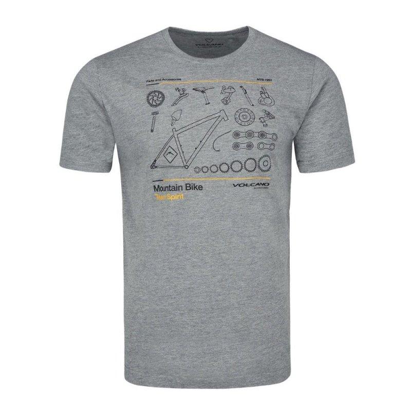 T-shirt męski T-STEER- szary melanż Koszulka z krótkim rękawem męska T-shirt Volcano