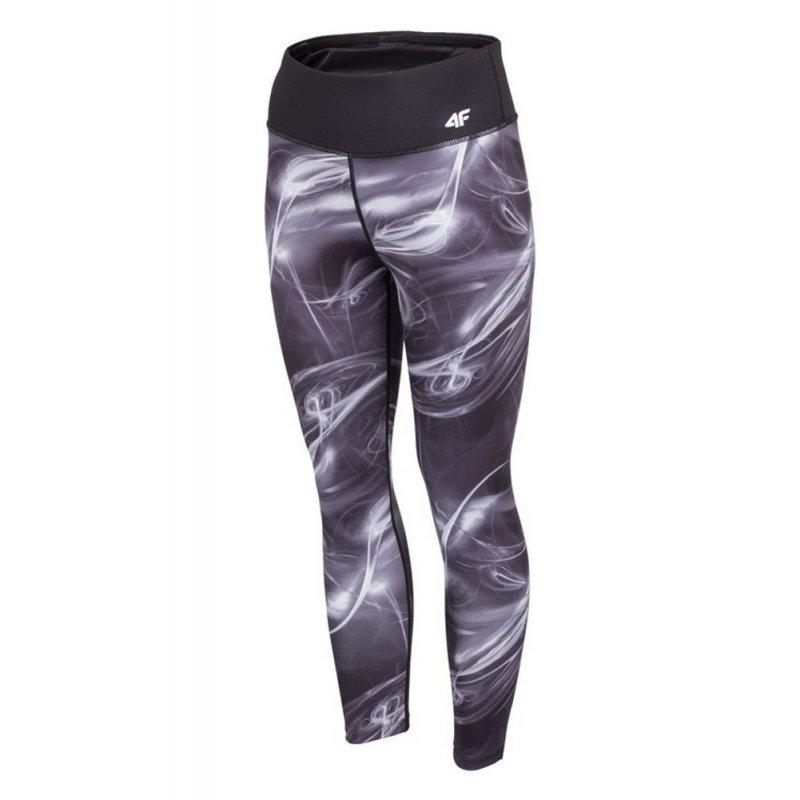 Damskie czarne legginsy 4FSPDF003 - szare Klasyczne czarne legginsy damskie funkcyjne legginsy do jogi