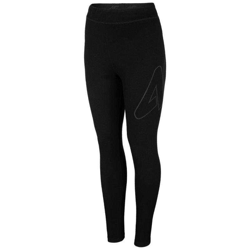 Damskie legginsy 4F LEG010 - czarne Klasyczne czarne spodnie legginsy damskie 4F Sportowe legginsy