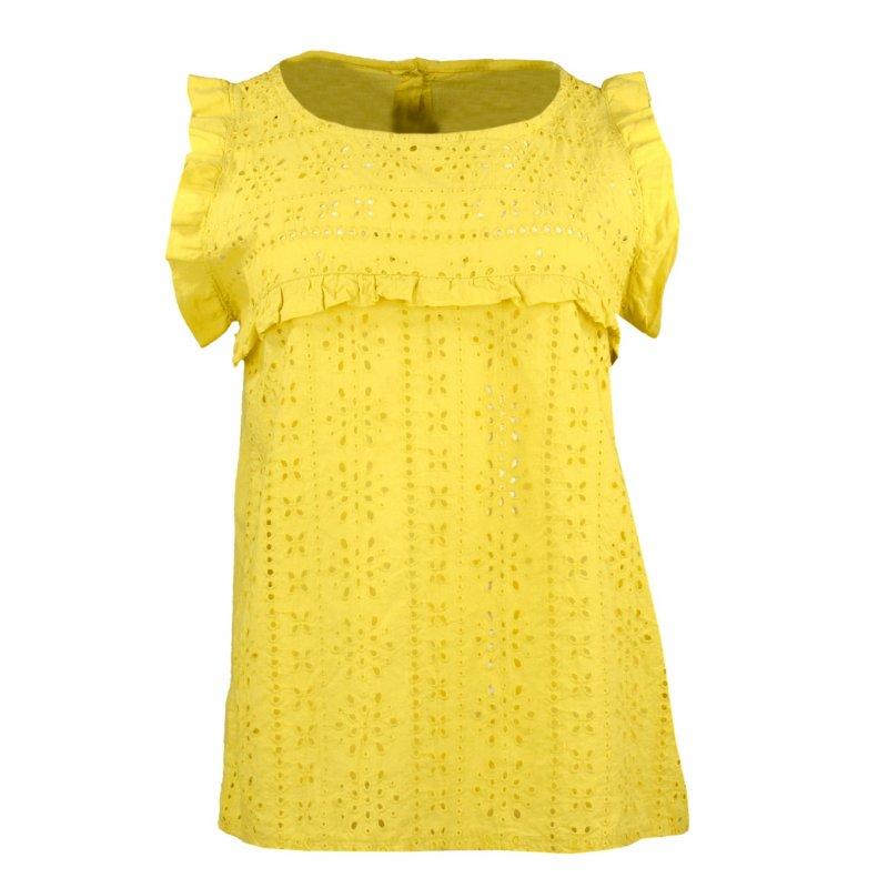 Bluzka damska z koronki angielskiej - żółta Letnia bluzka damska
