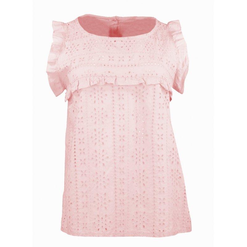 Bluzka damska z koronki angielskiej - różowa Bluzka z dziurami