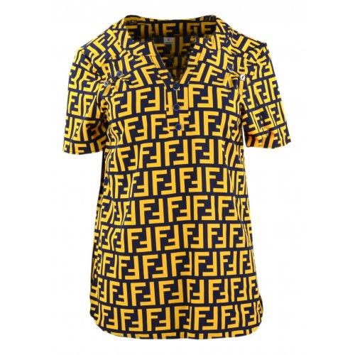 Bluzka damska z guziczkami - żółte napisy