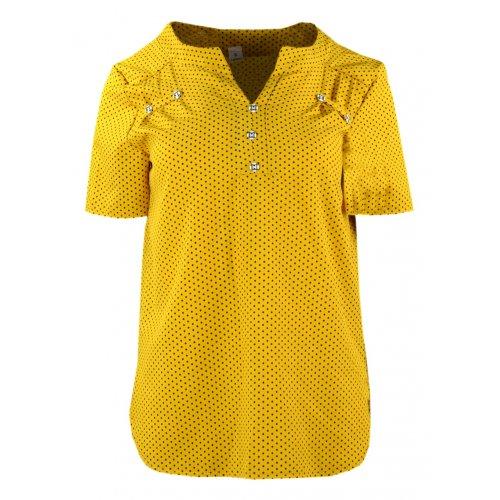 Bluzka damska z guziczkami - musztardowa groszki Modna bluzka damska