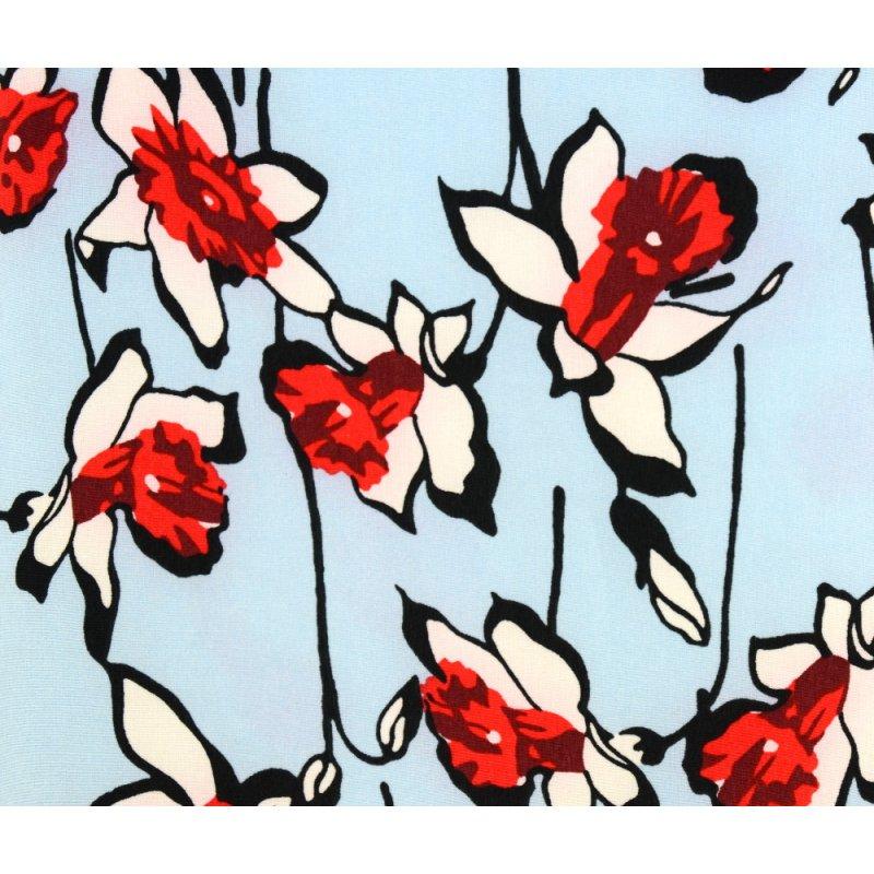 Bluzka damska odkryte ramiona - kwiaty Elegancka bluzeczka damska z odkrytymi ramionami