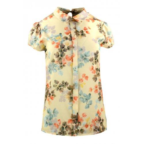 Bluzka damska z kołnierzykiem - liście Elegancka bluzka damska