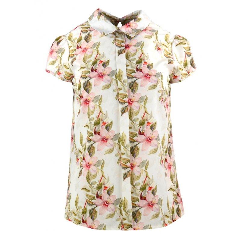Bluzka damska z kołnierzykiem - kwiat jabłoni bluzki damskie eleganckie
