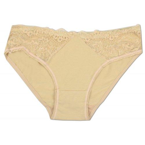 Figi damskie koronkowe 394 - beżowe Bielizna damska majtki damskie bawełniane tanie majtki damskie