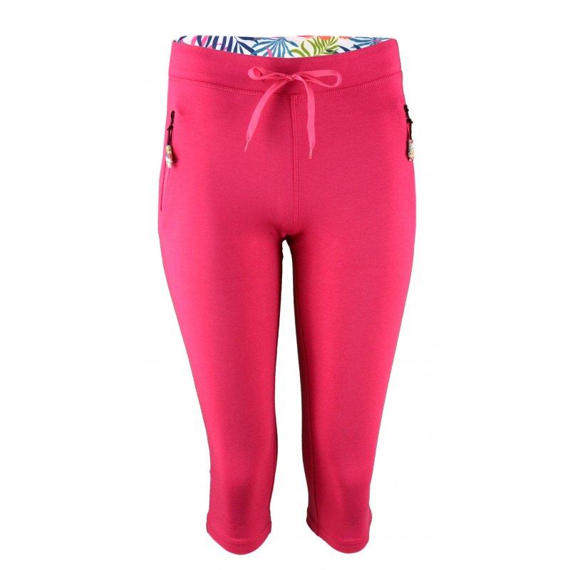Spodnie dresowe 3/4 rybaczki - RÓŻOWE Różowe spodnie damskie dresowe Spodnie rybaczki damskie dresowe