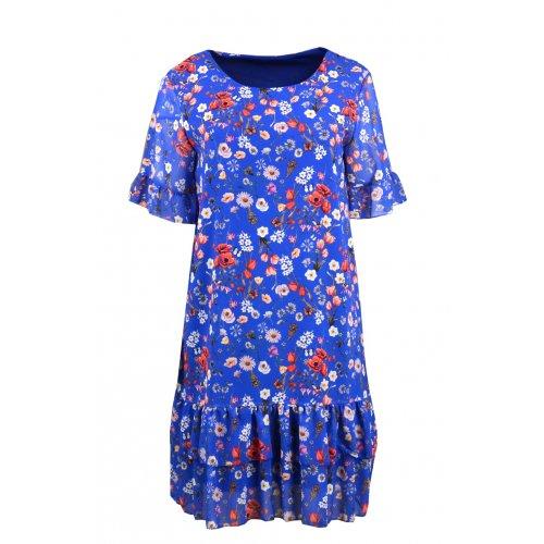 Sukienka szyfonowa FALBANA - 5379 Sukienka z falbankami w kwiaty Szafirowa sukienka Sukienka w drobne kwiaty