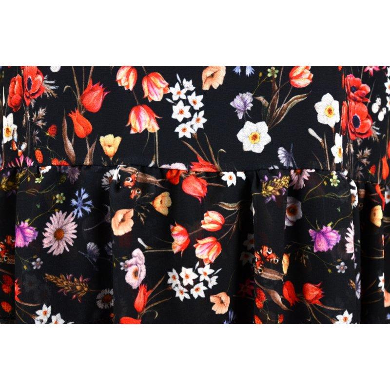 Sukienka szyfonowa FALBANY - 5380 Sukienka kwiatowa Czarna sukienka Sukienka szyfonowa w kwiaty Zwiewna sukienka
