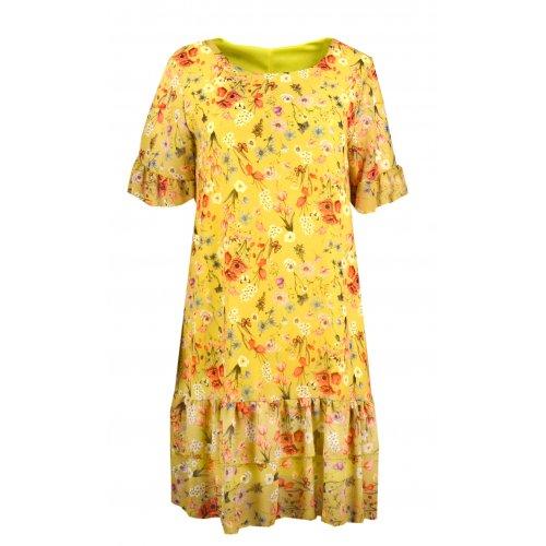 Sukienka szyfonowa FALBANA - 5381 Żółta sukienka w kwiaty Zwiewna sukienka w kwiaty Sukienka z falbanką w kwiaty
