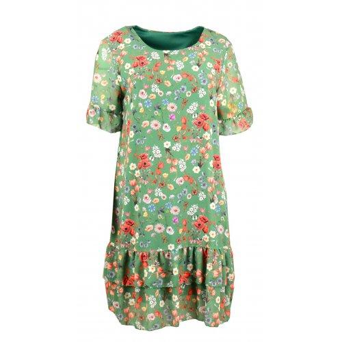 Sukienka szyfonowa FALBANA - 5382 Zielona sukienka Sukienka zielona w kwiaty Szyfonowa sukienka w kwiaty z falbankami
