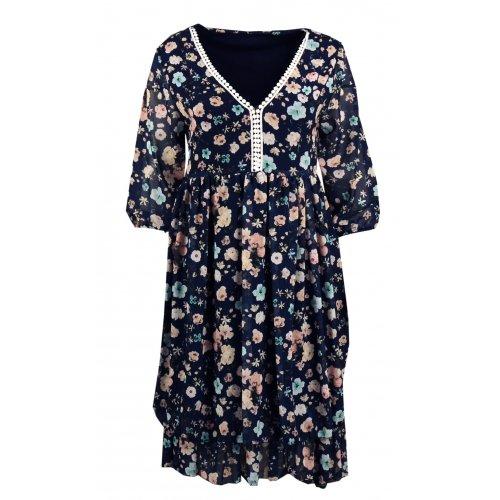 Sukienka szyfonowa w kwiaty - 5393