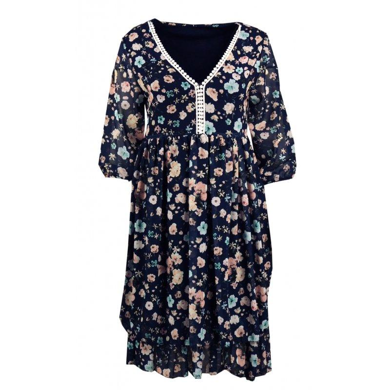 Sukienka szyfonowa w kwiaty- 5393 Sukienka w kwiatuszki granatowa sukienka sukienka zwiewna w kwiaty szyfonowa sukienka