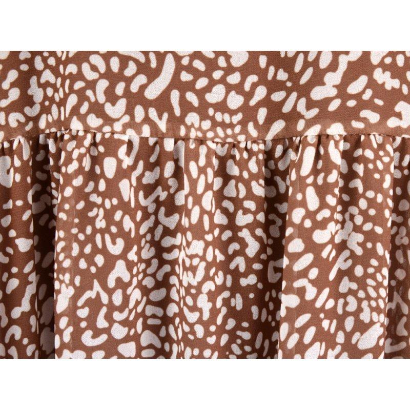 Sukienka szyfonowa PANTERKA - 5395 Luźna sukienka w kwiaty jasno brązowa sukienka w kwiaty szyfonowa sukienka w kwiaty