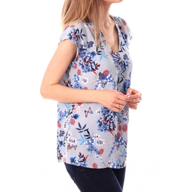 Bluzka z wiskozy w kwiaty - jasnoniebieska Bluzka damska w kwiaty elegancka bluzka w kwiaty