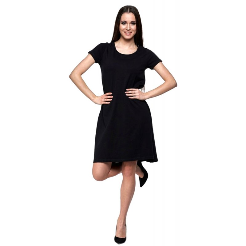 Sukienka trapezowa z dzianiny - czarna Sukienka trapez sukienki z dzianiny dresowej sukienka z krókim rękawem