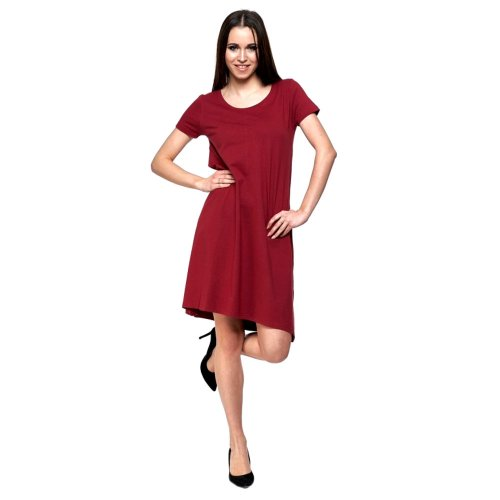 Sukienka trapezowa z dzianiny - bordowa sukienka damska Młodzieżowa sukienka sukienka trapez dzianinowa sukienka