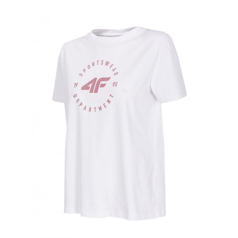 T-shirt damski OVERSIZE H4L20 TSD016 - biały koszulka na lato damska koszulka bawełniana damska biała koszulka damska