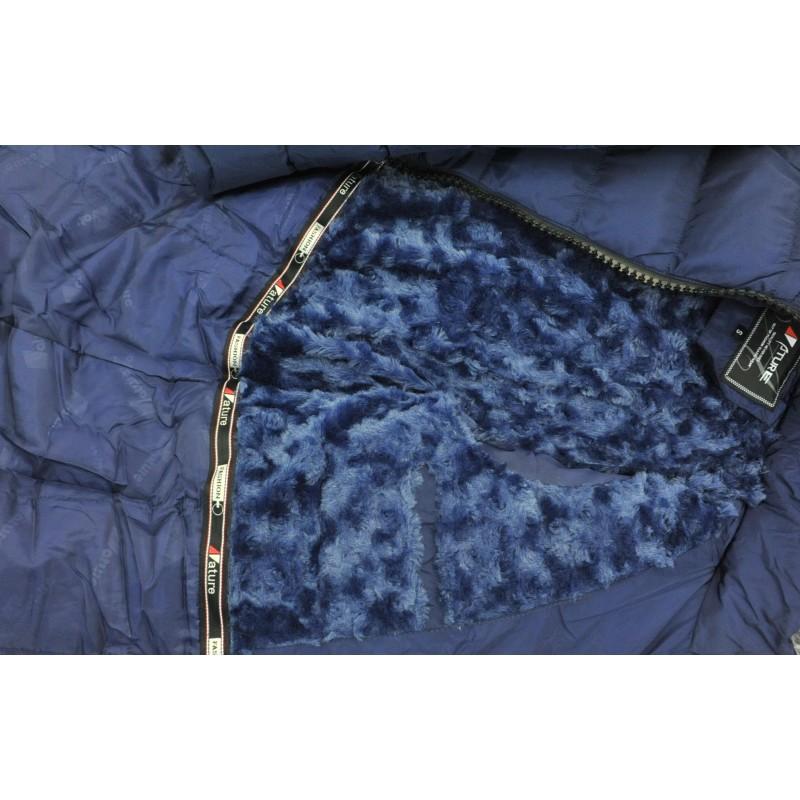 Kurtka/płaszcz z futrzanym kapturem ZIMOWA (granatowa)
