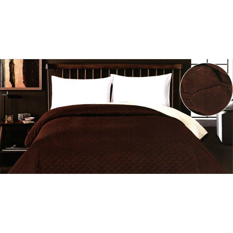 Brązowa Narzuta na Łóżko 220x240 3430 narzuta dwustronna narzuta na łóżko do sypialni narzuta na wersalkę narzuta pikowana
