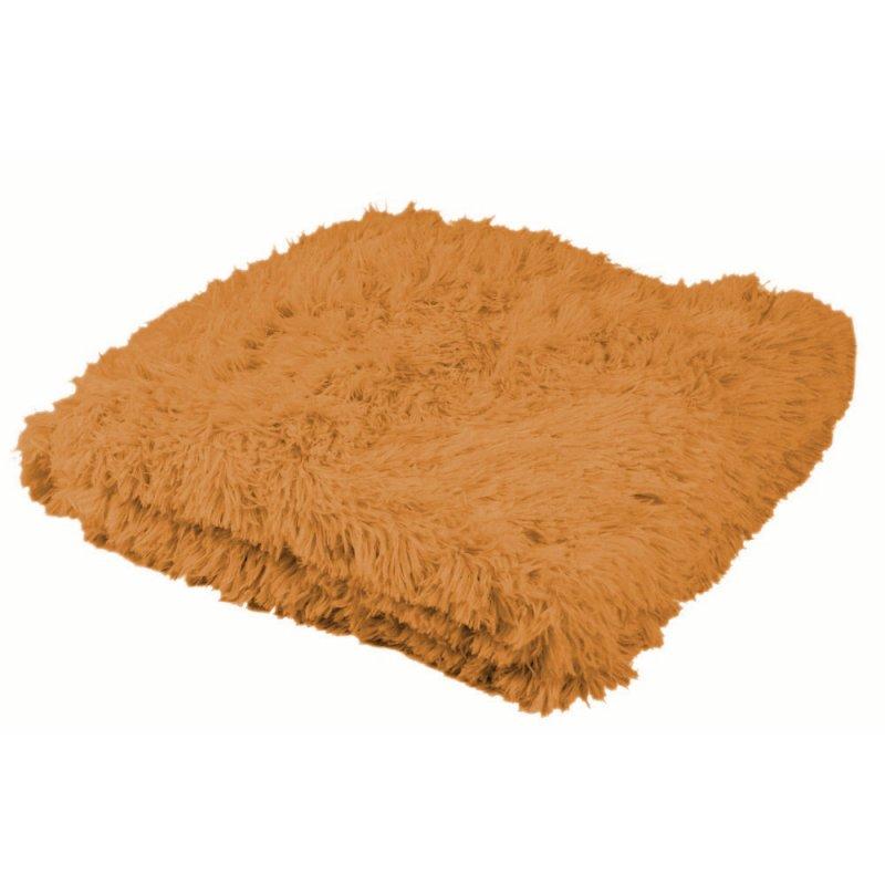 Koc włochaty jednokolorowy SHAGGY - karmelowy koc 160x200 koc na kanapę koc dwustronny puszysty koc ciepły koc puchaty