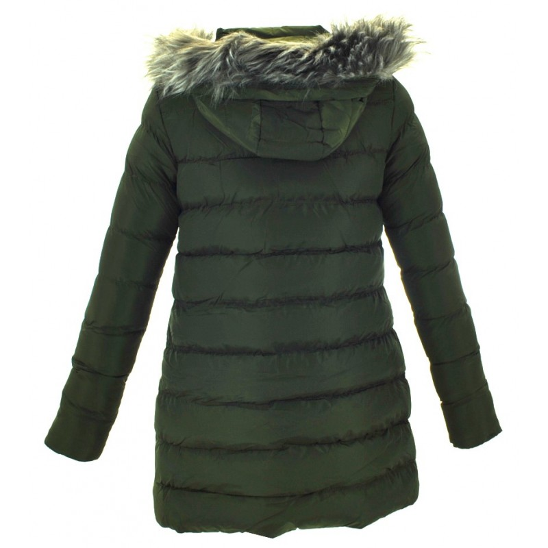 Kurtka/płaszcz z futrzanym kapturem ZIMOWA (khaki)