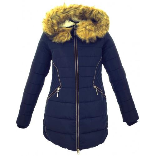 Kurtka/płaszcz z lamówkami z ekoskóry ZIMOWA (granatowa)