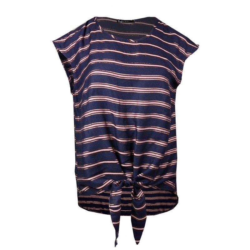 Bluzka wiązana w paski - granatowa bluzka wiązana z przodu bluzka wiązana w pasie wiązana bluzka bluzka wiązana na dole