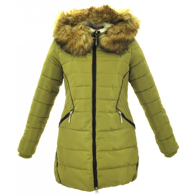 Kurtka/płaszcz z lamówkami z ekoskóry ZIMOWA (zielona)