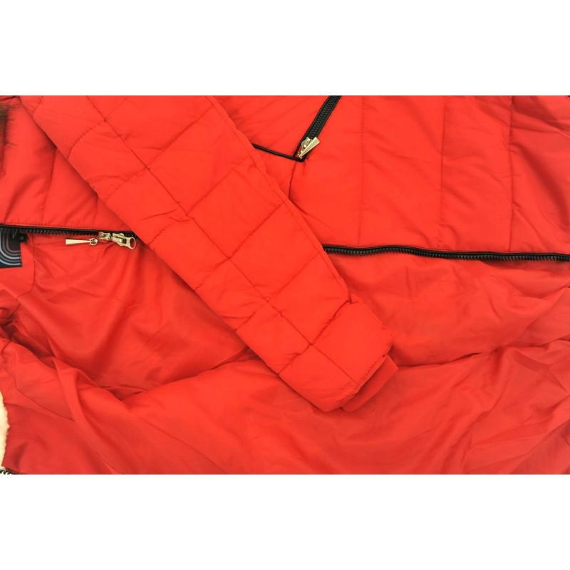 Kurtka/płaszcz z lamówkami z ekoskóry ZIMOWA (czerwona)
