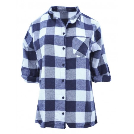 Flanelowa koszula damska w kratę (granatowa)