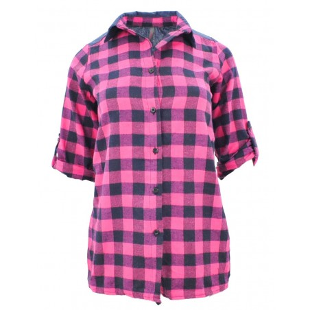 Flanelowa koszula damska w kratę (jeans + róż)
