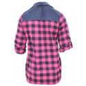 Flanelowa koszula damska w kratę (jeans +róż)